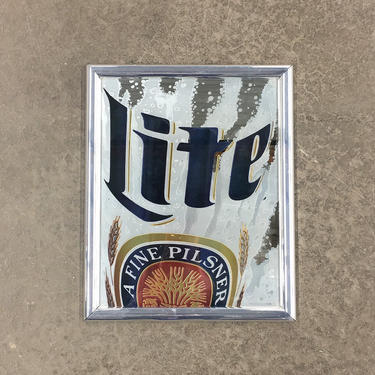 Vintage Miller Lite Wall Decor Retro 1990s Size 20x15 Beer Memorabilia + Miller Brewing Company + Reflective Mirror + Man Cave Decor by RetrospectVintage215