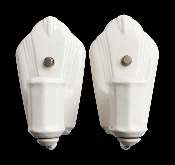 Pair of 1930s Art Deco White Ceramic Bathroom Wall Sconces
