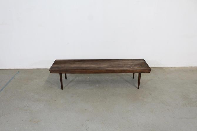 Mid-Century Modern Walnut Slat Bench End/Side Table by AnnexMarketplace