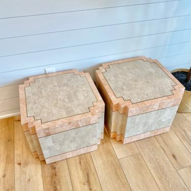 1990s Hollywood Regency Tessellated Stone Cube Side Tables - a Pair by LittleChairShop