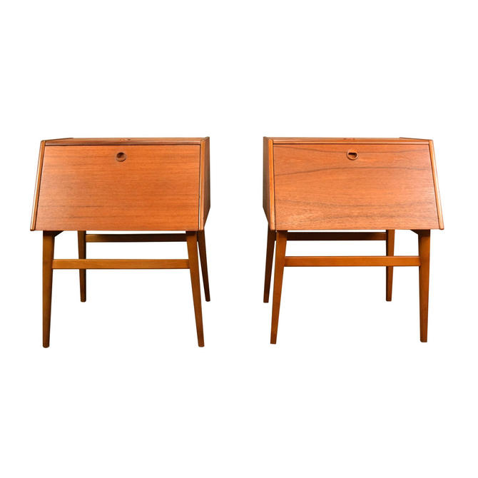 Pair of Vintage Danish Mid Century Modern Teak Night Stands by AymerickModern