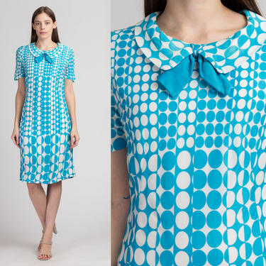 60s Blue & White Op Art Dress, As Is - Medium   Vintage Short Sleeve Polka Dot Peter Pan Collar Shift by FlyingAppleVintage