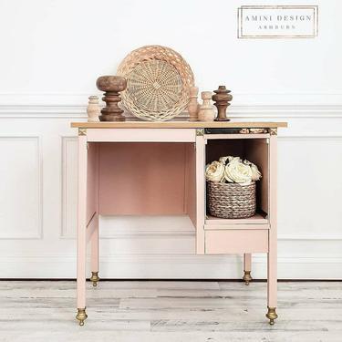 Desk, Writing Desk, Petite Desk, Pink Desk, Pink Workstation by AminiDesignAshburn