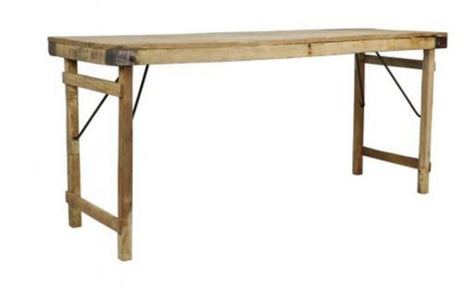 Free and Insured Shipping within US - Vintage Solid Wood Fold Flat Display Decor Store Table or Kitchen Island or Dining Table Stand by BigWhaleConsignment