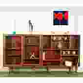 Rare Pair Danish Modern MCM Teak Bookcase Cabinet