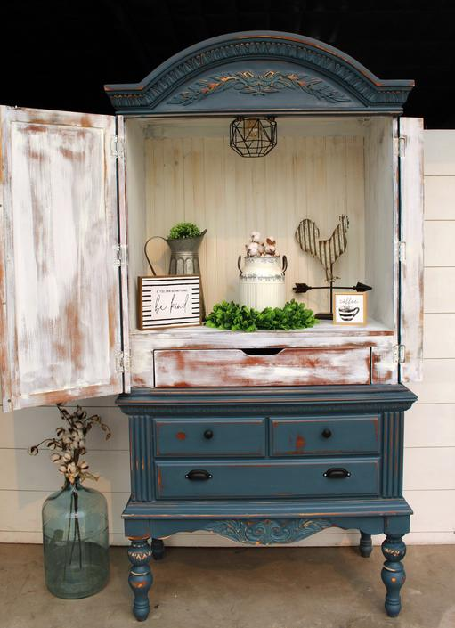 Blue Moon Coffee Bar \/ Armoire \/ Entryway Piece with Light