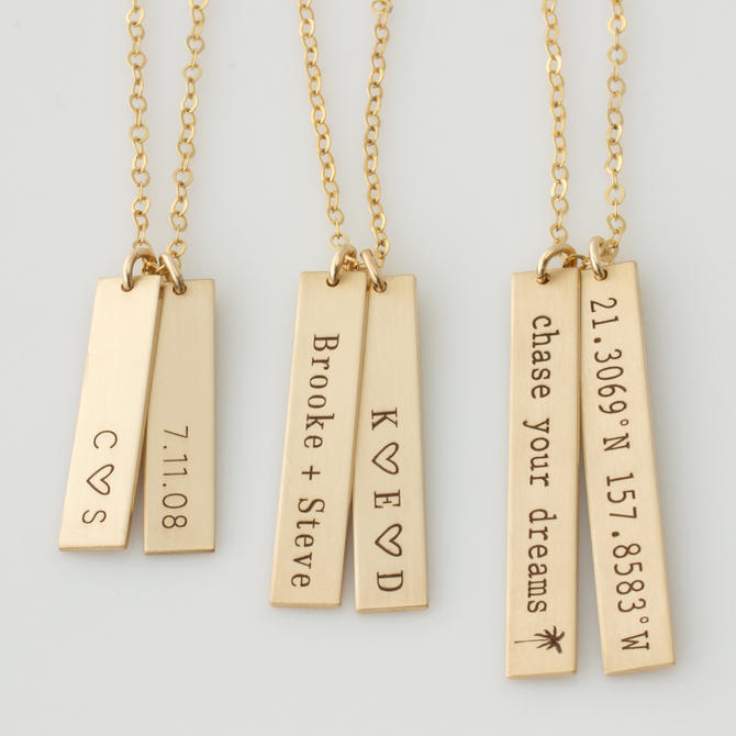 Vertical Bar Necklace, Name Bar Necklace, Personalized, Kids Name Necklace, Bridesmaid Gift, Anniversary Gift, Gift for Her,LEILAJewelryShop by LEILAjewelryshop