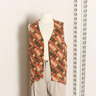 Earth Tone Patterned Open Vest / Small Medium by OldBlessing