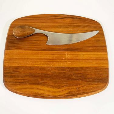 Vintage Dansk Denmark Torun Teak Cutting Board Cheeseboard Charcuterie Matching Cheese Knife Danish MCM Mid-Century Modern Design 1970s 70s by CheckEngineVintage
