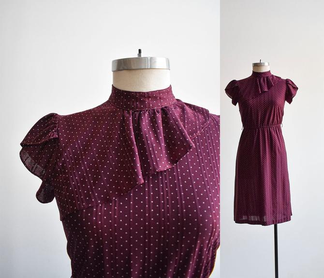 1970s Maroon Mini Polka Dot Dress by milkandice