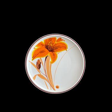 "Vintage 1970s Mid Century Modern Mikasa FORECAST NECTAR D 6899 12.25"" Platter w Orange Lily Flower Japan 20th Century Classic Japanese by SwankyChaperooo"