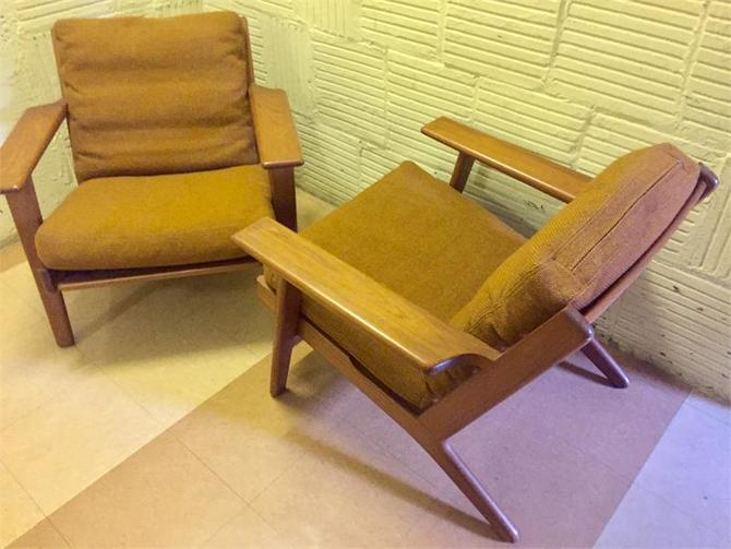 Pair (2) Teak Hans Wegner Getama Lounge Chairs Midcentury Modern Danis