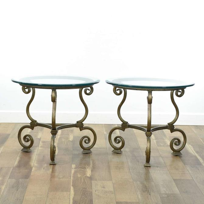 Pair Of Scrolled Metal End Tables W Heavy Glass Tops