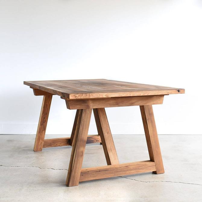 Farmhouse Trestle Table made from Reclaimed Wood / Solid Wood Dining Table / Rustic Kitchen Table by wwmake