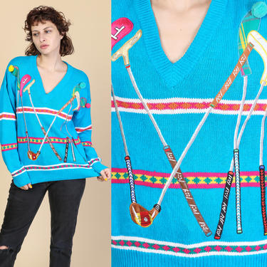 90s Pom Pom Golf Sweater - Medium | Vintage Blue Striped Applique Knit Pullover by FlyingAppleVintage