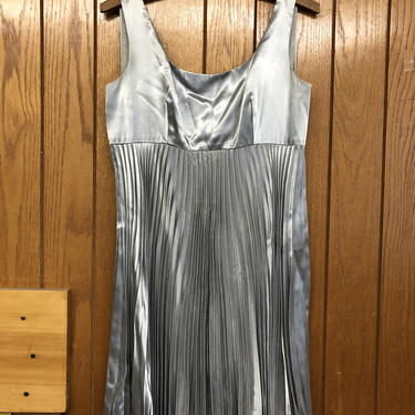 Metallic Silver Party Cocktail Dress - Size 8/ Medium - 90s special occasion dress with pleats pleated skirt - Shiny Silver! by AIDSActionCommittee