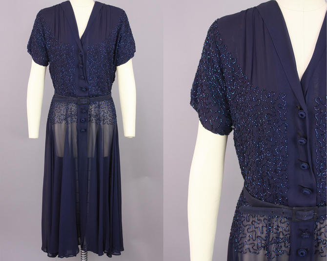 1940s Beaded Soutache Dress | Vintage 40s Blue Chiffon Cocktail Dress | medium / large by RelicVintageSF