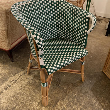French Wicker and Bamboo Bistro Chair by coloniaantiques