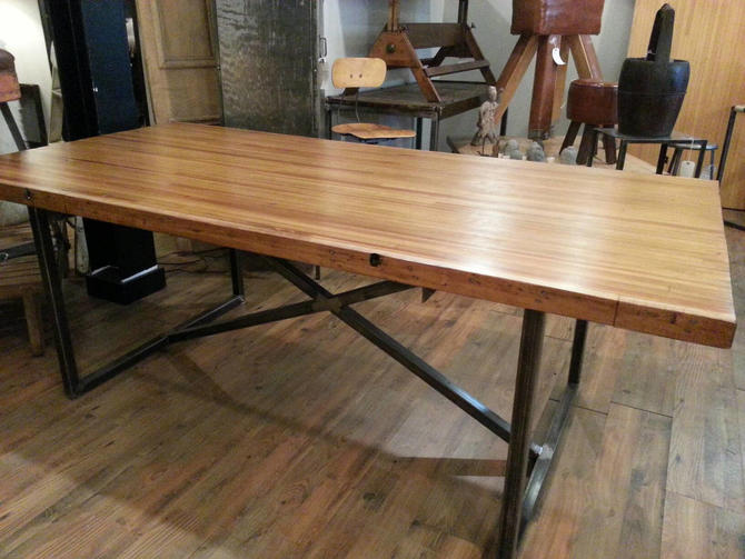 Vintage salvaged repurposed bowling alley dining table by StateStreetSalvage