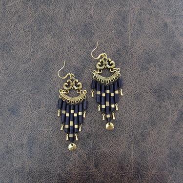 Long black earrings, gold chandelier earrings, boho chic earrings, Victorian earrings, Art Deco earrings, unique, romantic dramatic earrings by Afrocasian