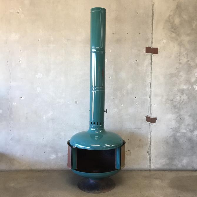 Mid Century Modern Malm Turquoise Porcelain Finish Fireplace