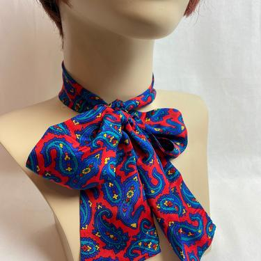 Vintage 100% silk women's neck tie/ pussycat bow accessory~ long thin versatile scarves~ colorful paisley print by HattiesVintagePDX