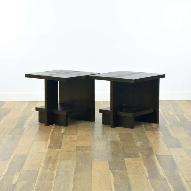 Pair Of Modernist Dark Finish Open Frame End Tables