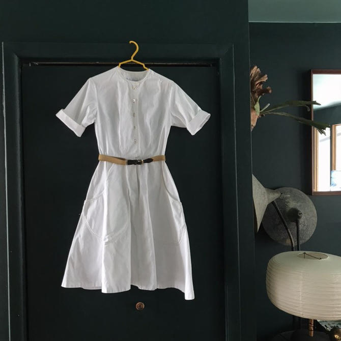 1950s Work Dress Mr. Josef Thick Cotton Uniform Nurse Pristine by BrainWashington