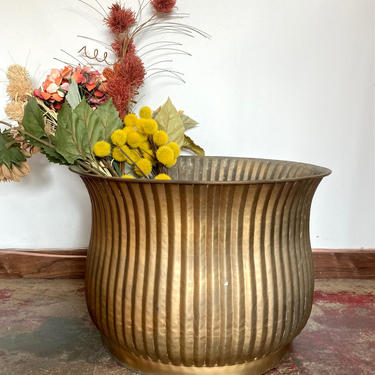 Large Ribbed Brass Planters