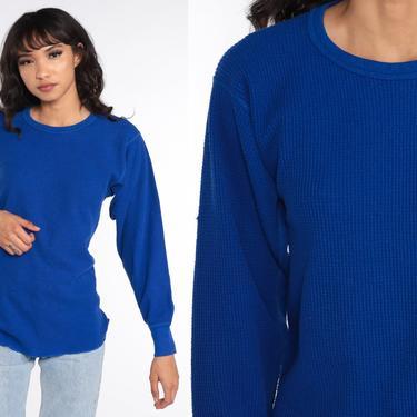 Thermal Shirt Royal Blue Long Johns Long Sleeve Shirt WAFFLE KNIT T Shirt 80s Tshirt Retro Tee Vintage Plain Simple Medium by ShopExile