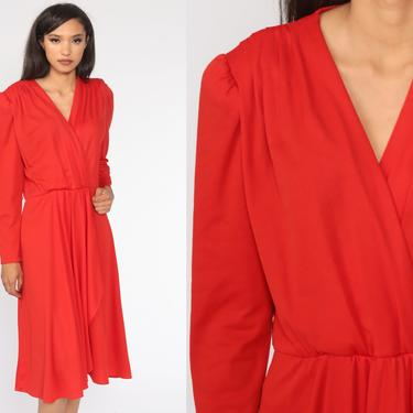 Red Wrap Dress Disco Dress Grecian 70s Boho Party Midi Deep V Neck High Waist Vintage Long sleeve Formal Bohemian Medium Large by ShopExile
