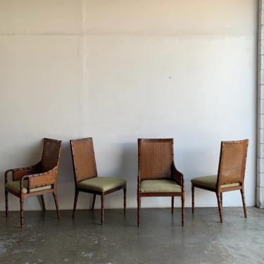 Palacek Bamboo and Cane dining chairs- set of four by VintageOnPoint