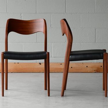 Pair of Møller Model 71 Danish Modern Dining Chairs Teak and Black Leather by MadsenModern