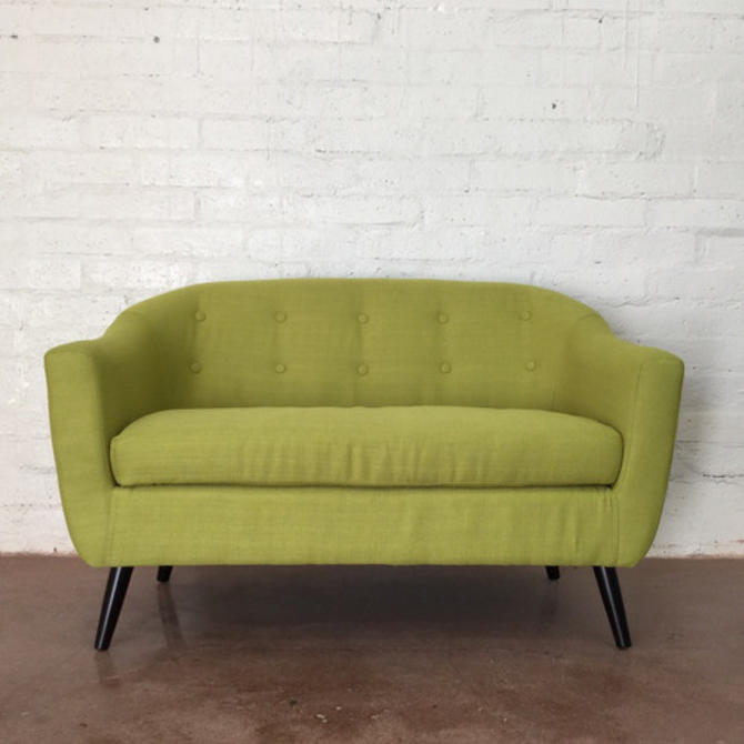 Mid Century Style Lime Green Love Seat