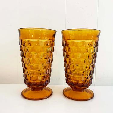 True Vintage Iced Tea Glasses Set of Two Indiana Glass Whitehall Pattern Amber Yellow Highball Glasses 1960s 60s Wine Goblet Water by CheckEngineVintage
