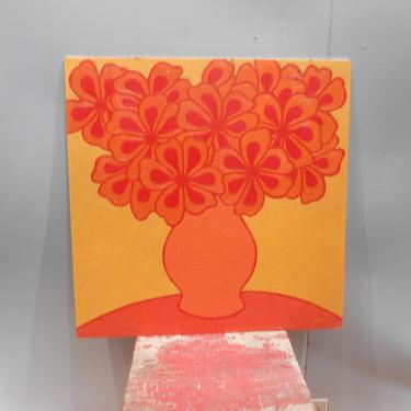 Vintage Oil Painting Original Art Frank Heinz Signed Artwork Vibrant Colorful Gold Orange Floral Flowers 1970s Pop Art Graphic Vivid Bold by kissmyattvintage