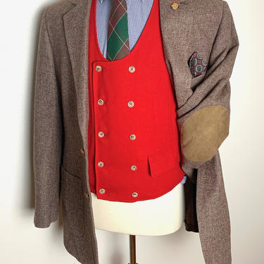 Vintage DONEGAL TWEED 100% Wool Blazer ~ 42 to 44 Long ~ jacket / sport coat ~ Elbow Patches ~ Preppy / Ivy Style / Trad ~ by SparrowsAndWolves