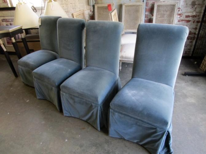 SET OF FOUR SKIRTED CHAIRS