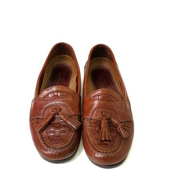 Genuine Johnston & Murphy Leather Brown Mens US 11.5 Woven Tassel Loafers Shoes by MakingMidCenturyMod