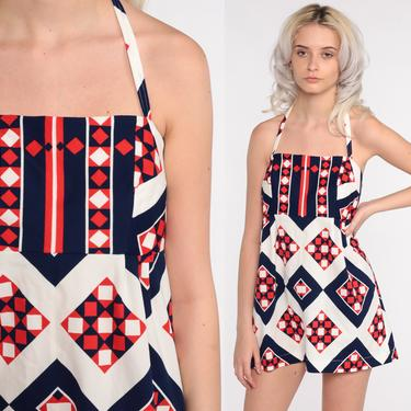 1970s Micro Mini Dress 70s Geometric Mod Dress 60s Hippie Babydoll Halter Neck Top Vintage White Black Red Empire Waist Minidress Small by ShopExile