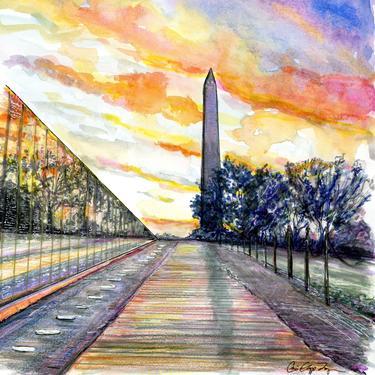 Vietnam Memorial Art Featuring Washington Monument by Cris Clapp Logan by CrisLoganArt