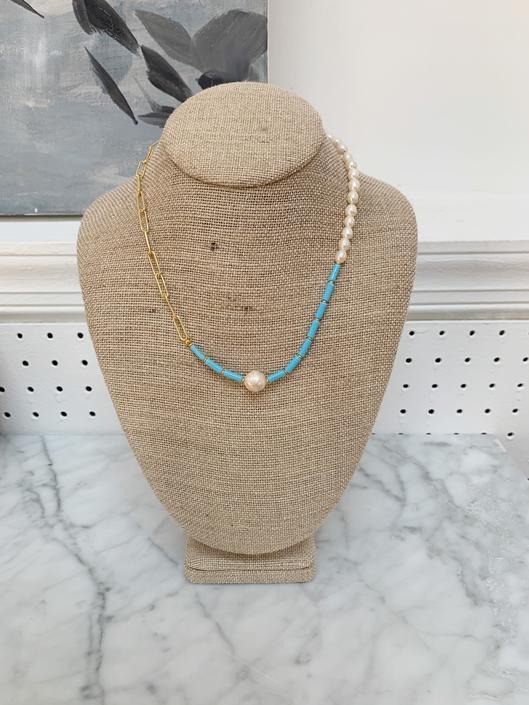 Light Blue Glass Beads & Pearls