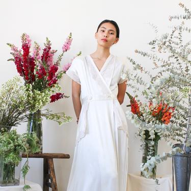 vintage 1940s liquid satin white wrap gown by blossomvintageshop