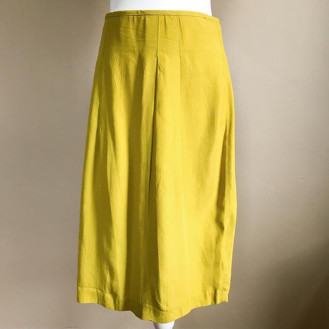 80s Chartreuse Pencil Skirt | Medium/Large by MuteVintage