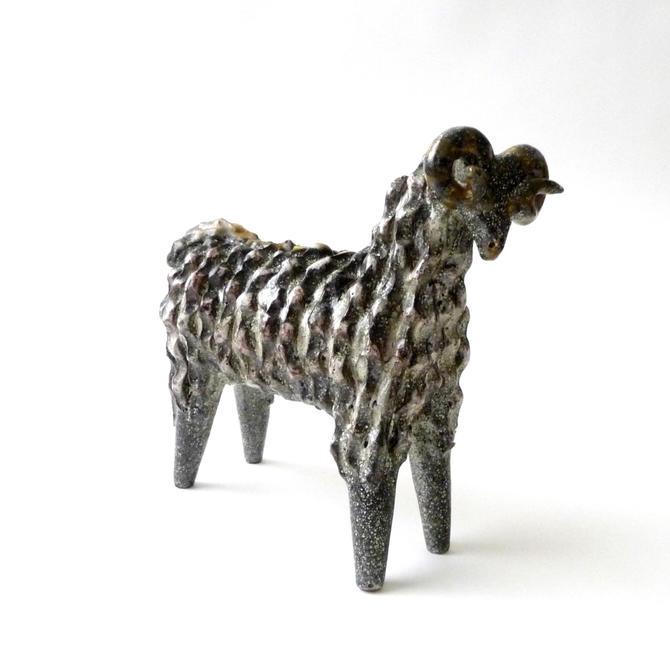 Modernist Ceramic Ram Sculpture by Alfaraz Spain  Aries by mascarajones