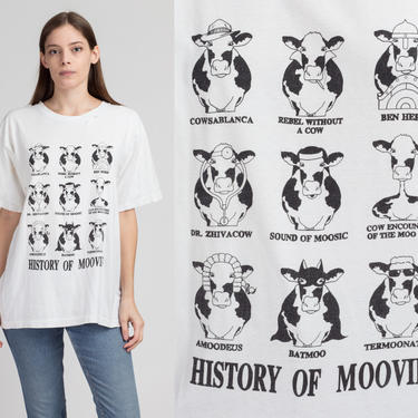 """90s """"History Of Moovies"""" Graphic Cow T Shirt - Large to XL 