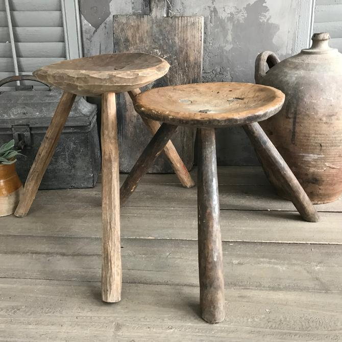 1 Rustic Wood Stool, Amazing Patina, Primitive Rustic Farmhouse by JansVintageStuff