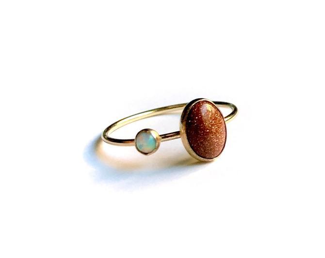 Goldstone and Opal Orbit Ring in 14k Gold-Fill by RachelPfefferDesigns