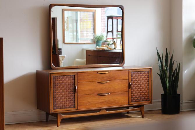 Mid Century Modern Lane Perception Dresser and Mirror by SharkGravy
