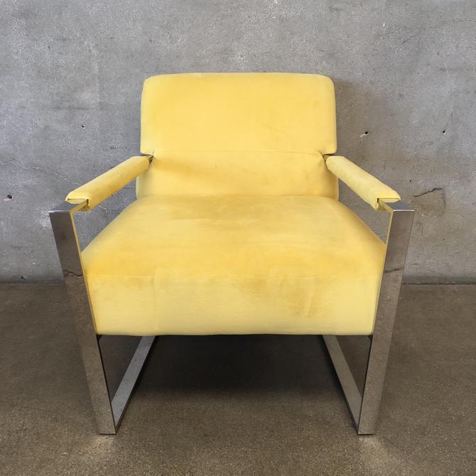 Ultra Suede Mellow Yellow Modern Chrome Chair